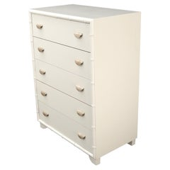 Faux bamboo off white lacquer scallop shape art deco pulls high chest dresser.