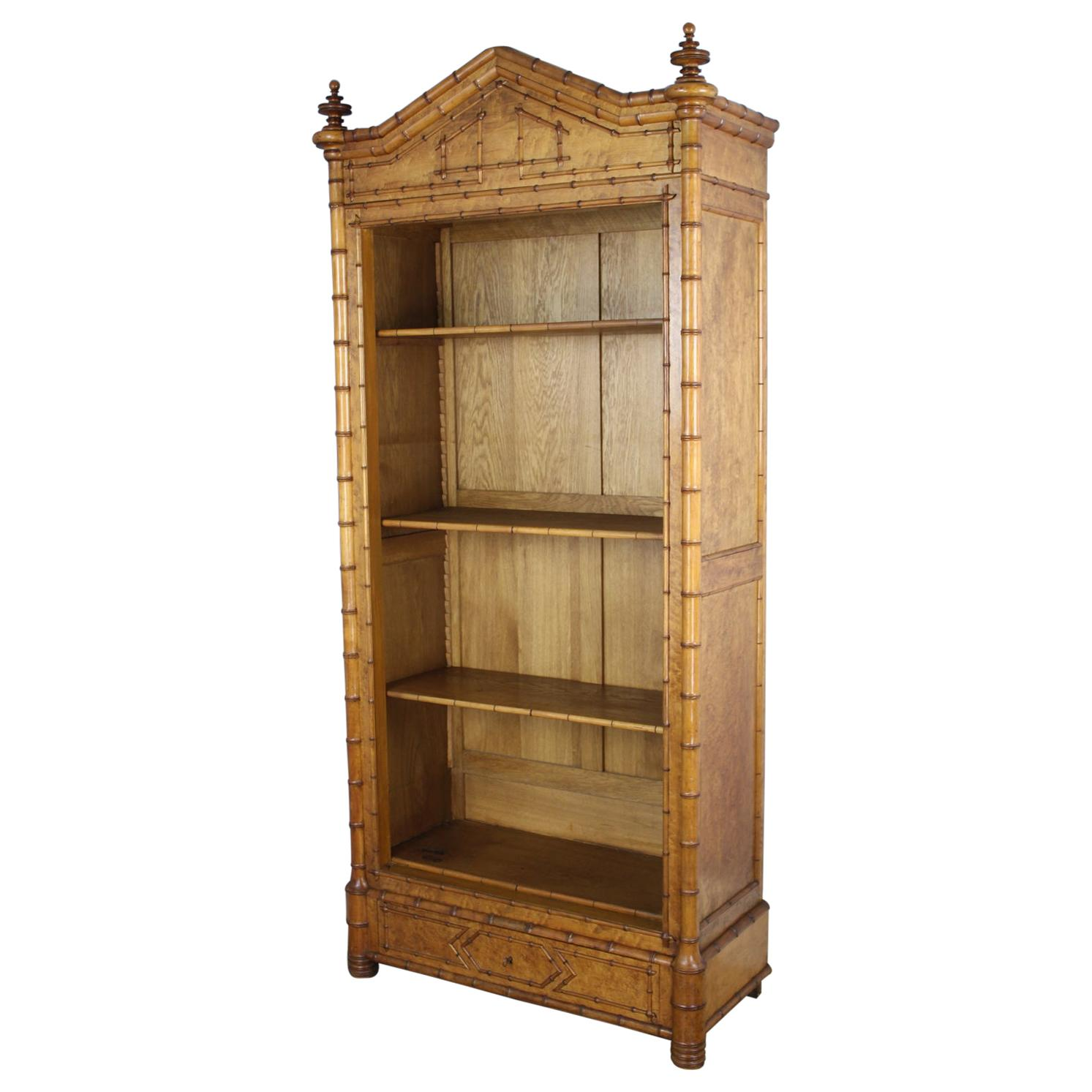 Faux Bamboo Open Bookcase with Bird's Eye Maple Panels