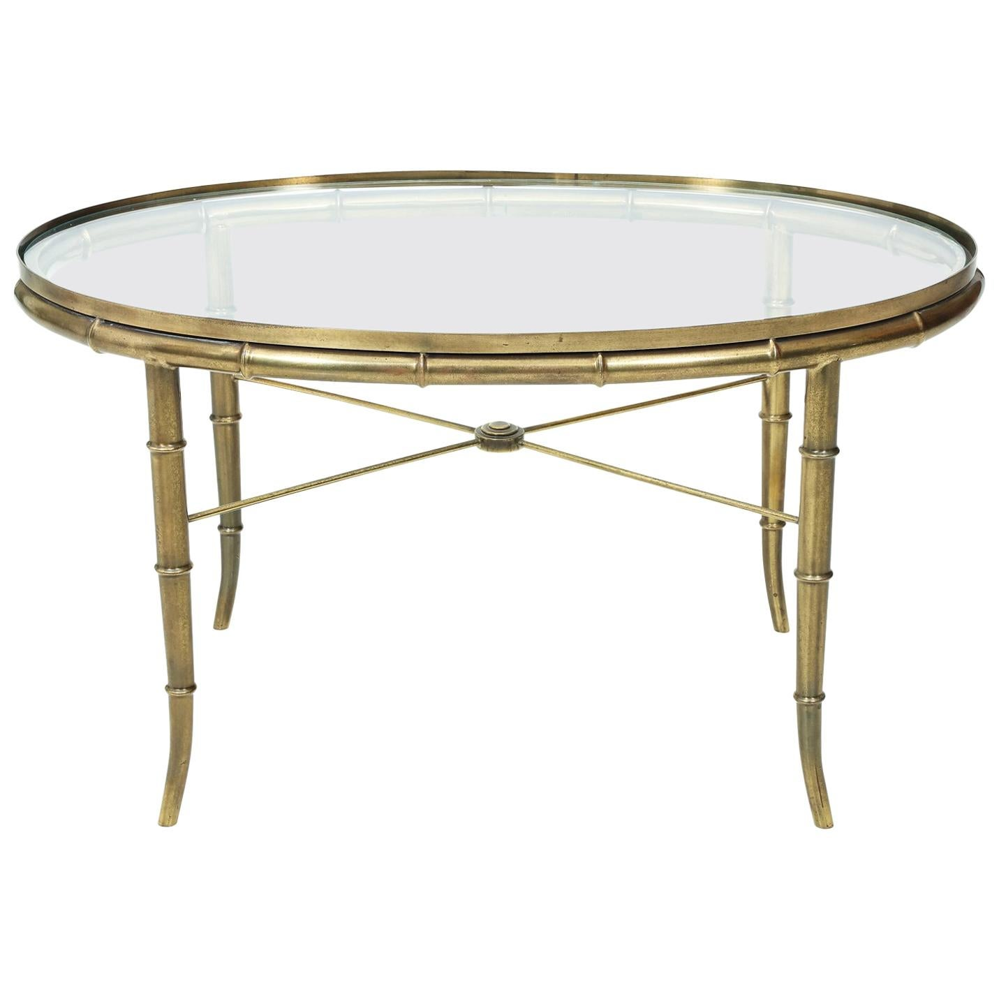 Sophisticated Br Faux Bamboo Oval Tail Table By Mastercraft