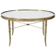 Faux Bamboo Oval Brass Table