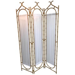 Faux Bamboo Pagoda Style Three-Panel Screen