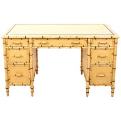 Faux Bamboo Painted Knee Hole Desk