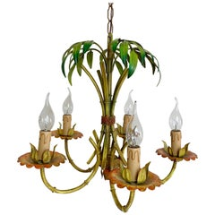 Faux Bamboo Palm Chandelier, circa 1970s