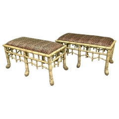 Faux Bamboo Pavilion Style Bench, A Pair