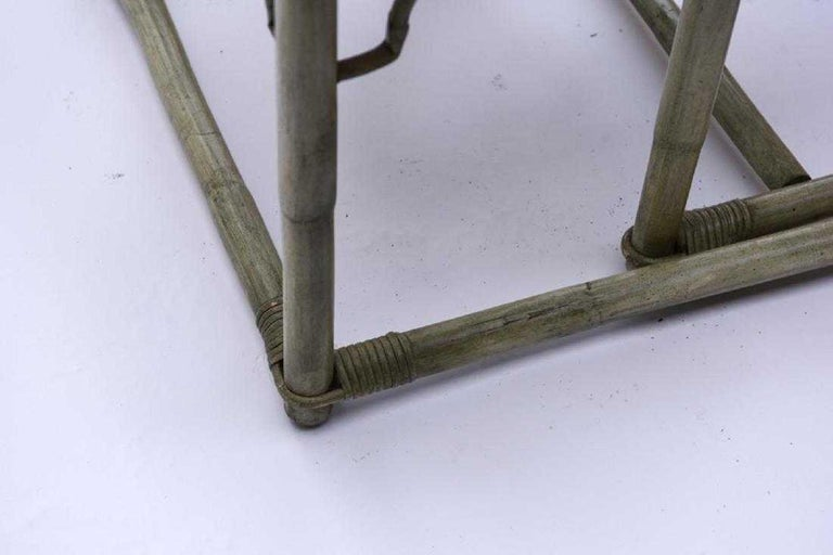 Faux Bamboo Rattan Table and Chairs and Side Tables For Sale 4