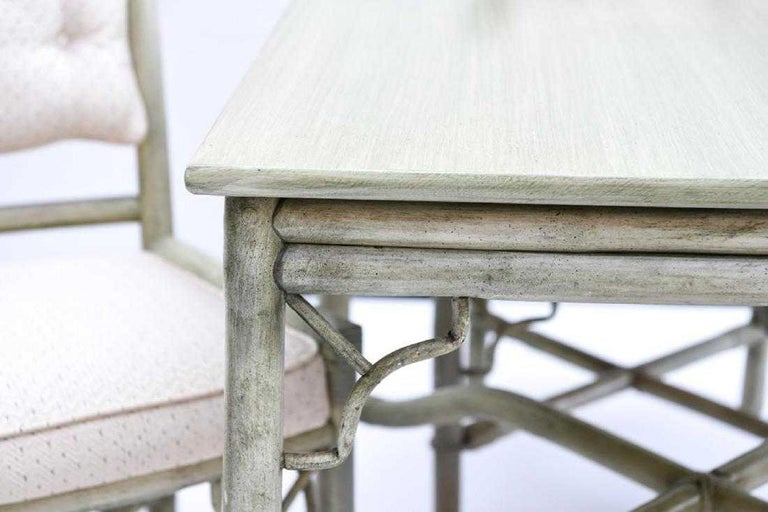 American Faux Bamboo Rattan Table and Chairs and Side Tables For Sale