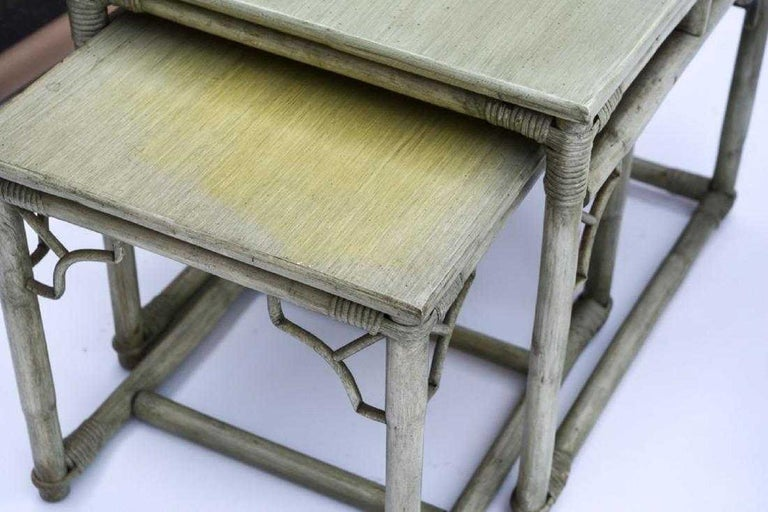 Faux Bamboo Rattan Table and Chairs and Side Tables In Good Condition For Sale In Great Barrington, MA