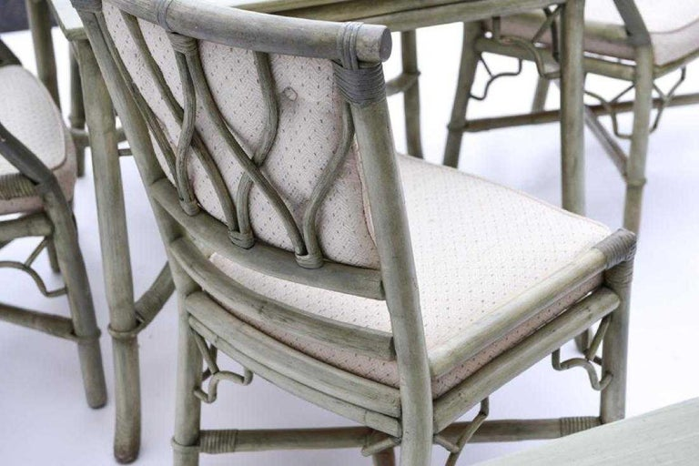 Faux Bamboo Rattan Table and Chairs and Side Tables For Sale 2