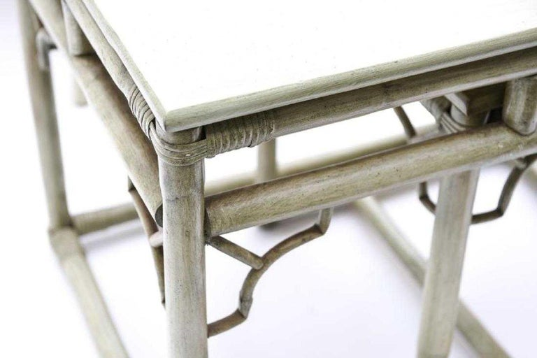 Faux Bamboo Rattan Table and Chairs and Side Tables For Sale 3