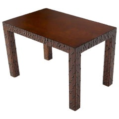 Faux Bamboo Rectangle Walnut Finish Side End Coffee Table