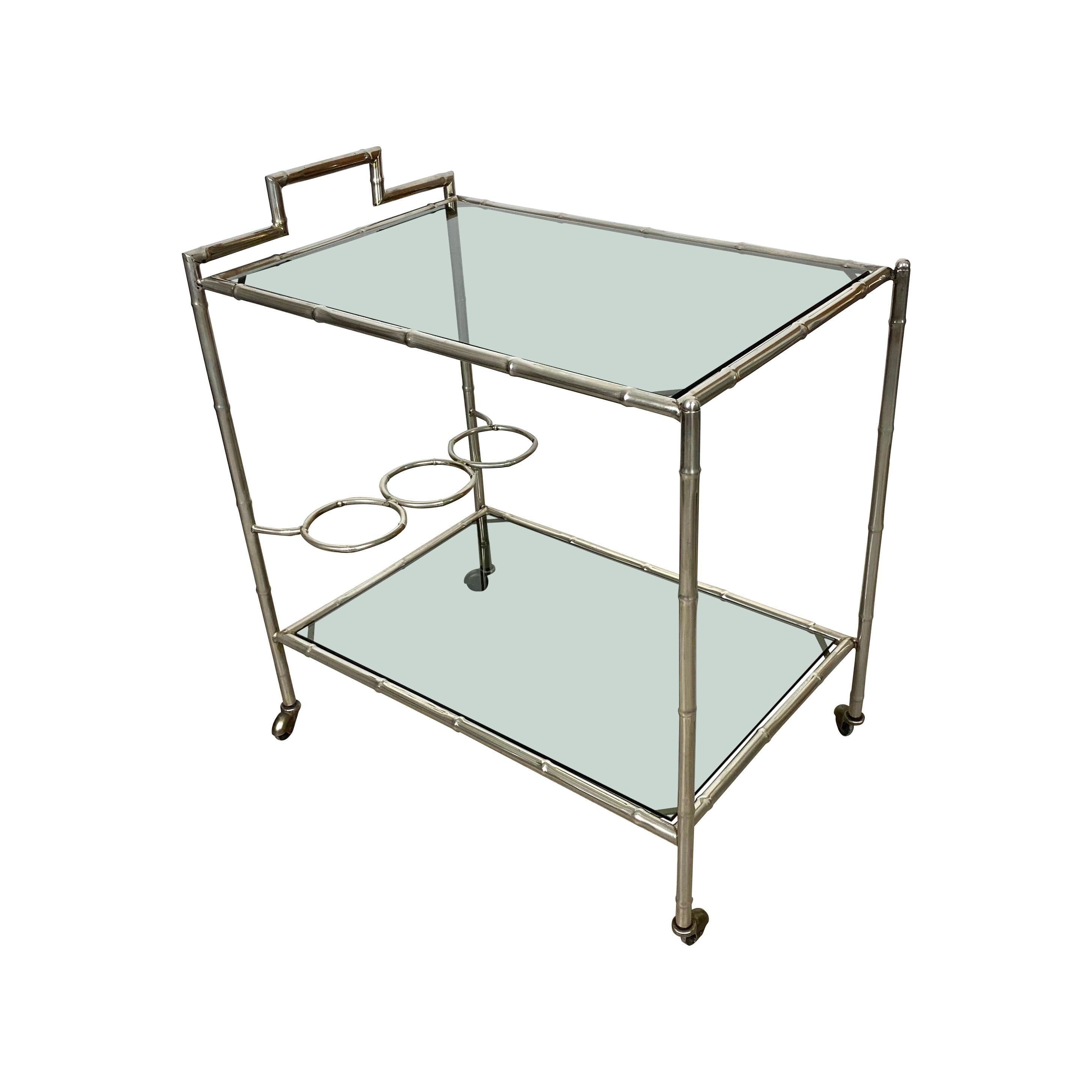 Faux Bamboo Silver and Glass Cart Trolley, Italy, 1970s
