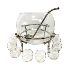 Faux Bamboo Silver Plate Clear Glass Punch Set