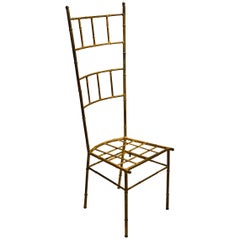 Faux Bamboo Spanish Gold Guild Finish Metal Boudoir/Vanity Chair by 1960s