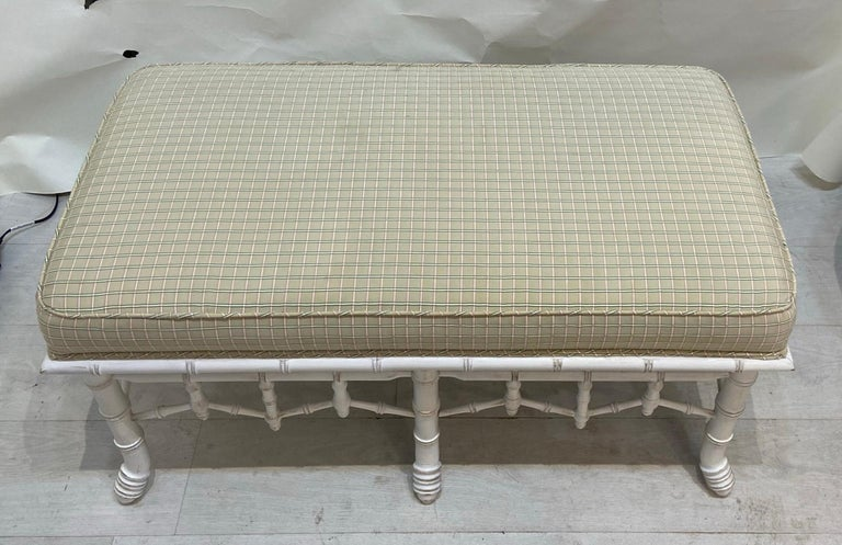 Large square bench or pouf could probably even be modified into a cocktail or coffee table. Original fabric in used condition. Quality construction built to last.