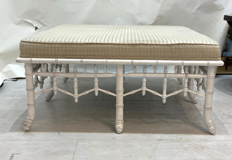 Hollywood Regency Faux Bamboo Square Bench or Pouf For Sale