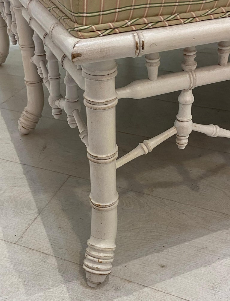Faux Bamboo Square Bench or Pouf In Good Condition For Sale In West Palm Beach, FL