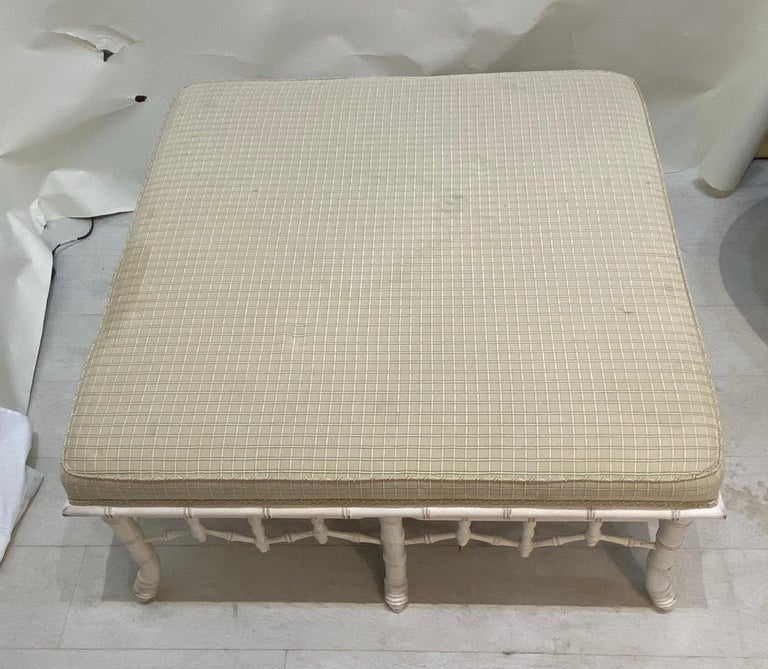 20th Century Faux Bamboo Square Bench or Pouf For Sale