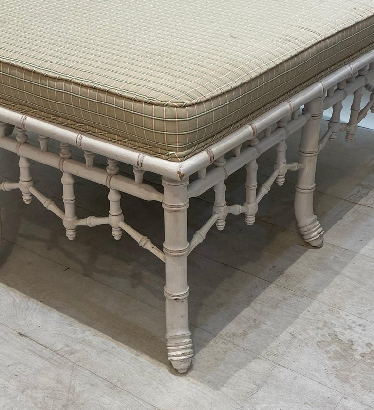 Wood Faux Bamboo Square Bench or Pouf For Sale