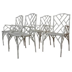 Faux-Bamboo Style Metal Patio Armchairs S/4