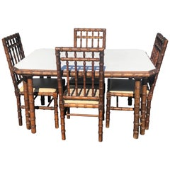 Faux Bamboo Table with Four Matching Chairs