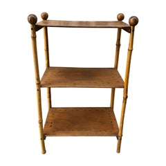 Faux Bamboo Three-Tiered Stand with Hand Painted Accents