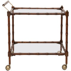 Faux Bamboo Two-Tier Bar Cart