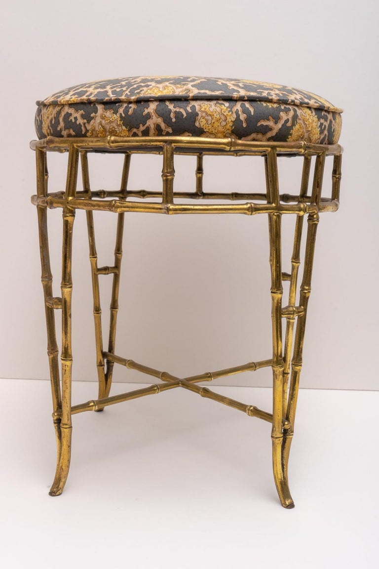 Hollywood Regency Maison Bagues Faux Bamboo Vanity Stool For Sale