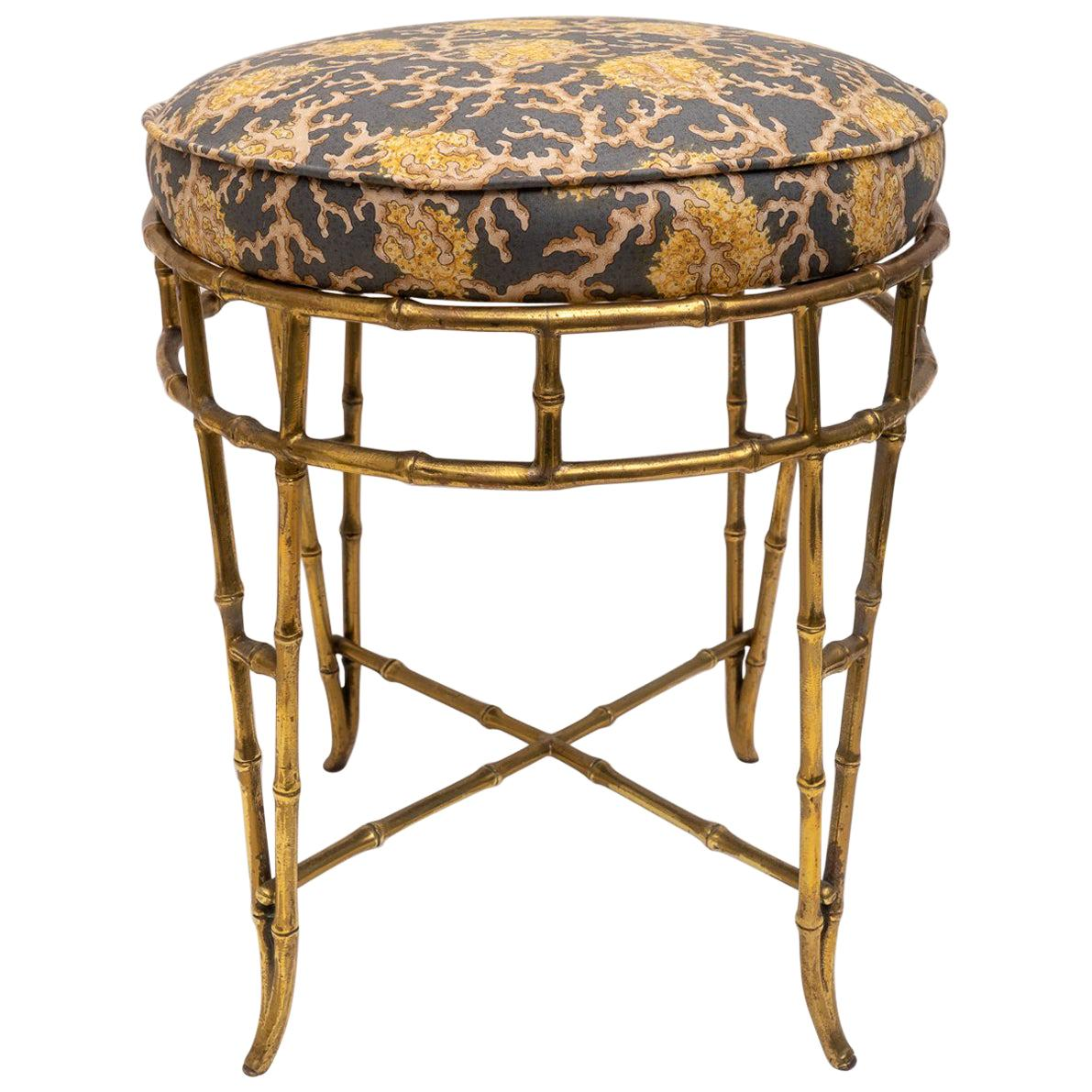 Groovy Brass Faux Bamboo Vanity Stool For Sale At 1Stdibs Theyellowbook Wood Chair Design Ideas Theyellowbookinfo
