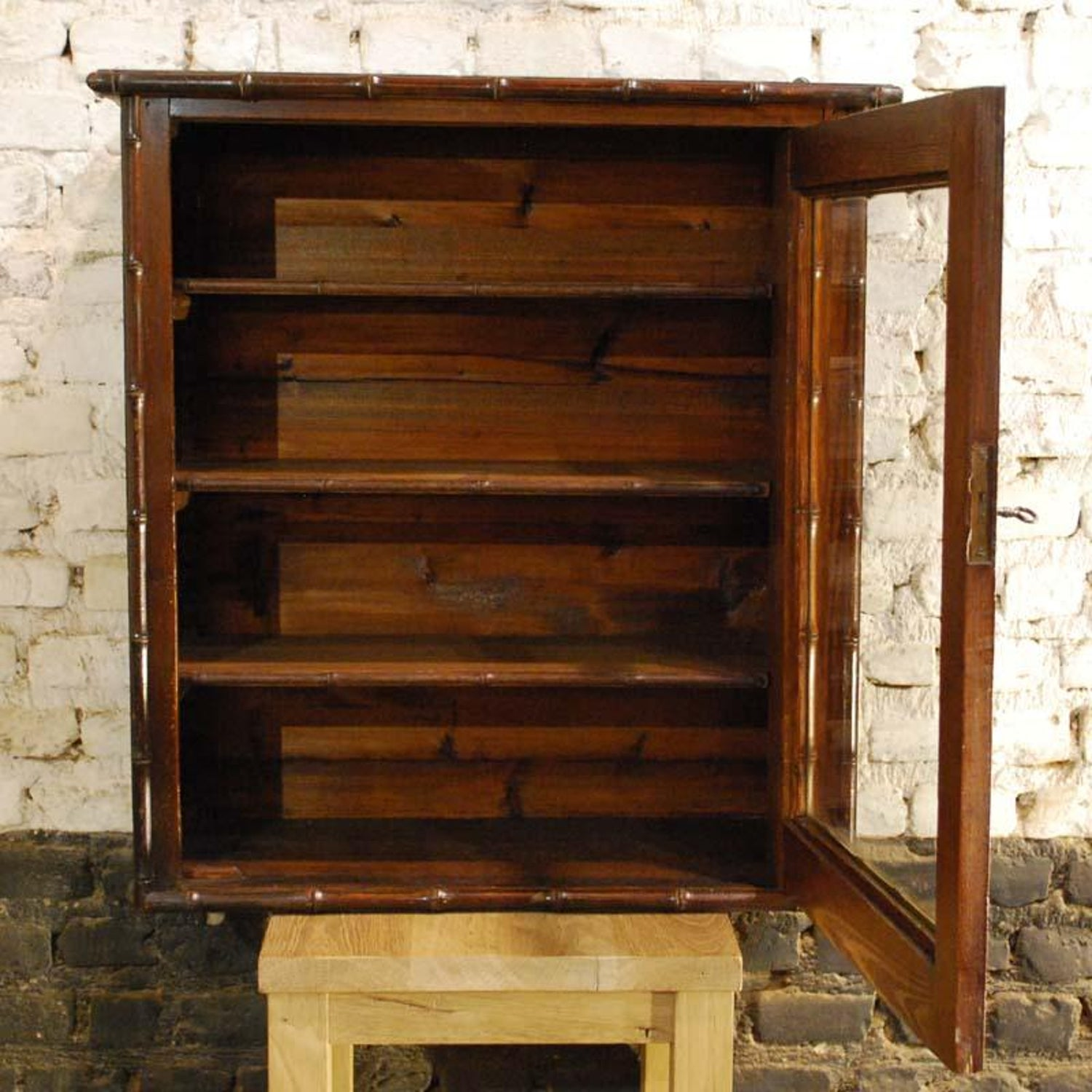 Faux Bamboo Wall Mounted Display Cabinet In Pitch Pine And Cherry Wood