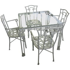 Faux Bamboo, White, Five-Piece Patio Table and Chairs by Kessler