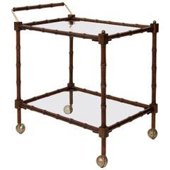 Faux Bamboo Wood Rolling Bar Cart