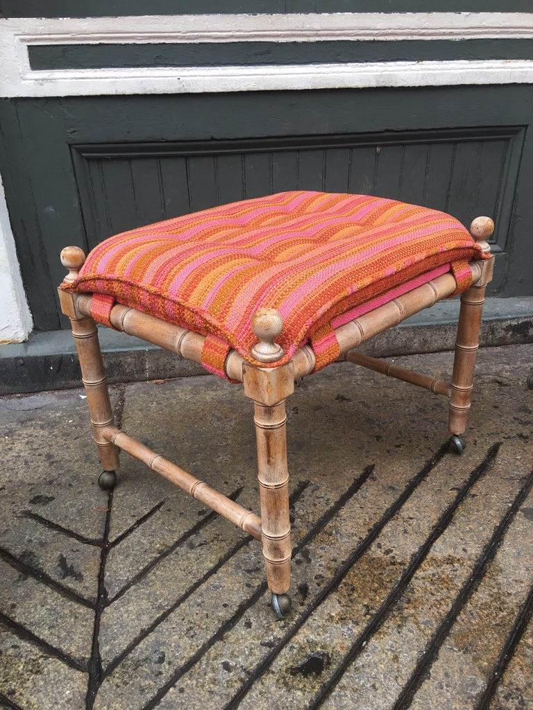 Mid-Century Modern Faux Bamboo Wood Stools/ Ottomans For Sale