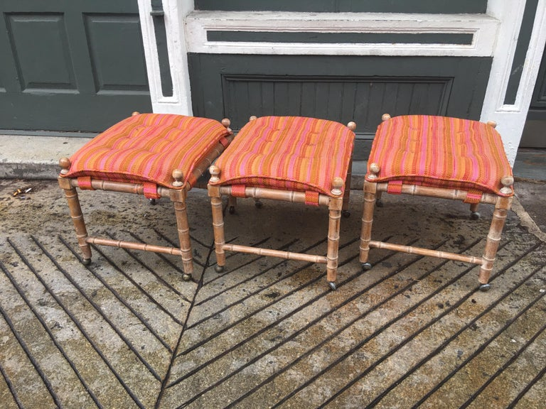 Faux Bamboo Wood Stools/ Ottomans For Sale 1
