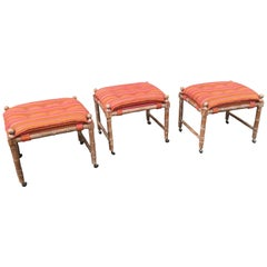 Faux Bamboo Wood Stools/ Ottomans