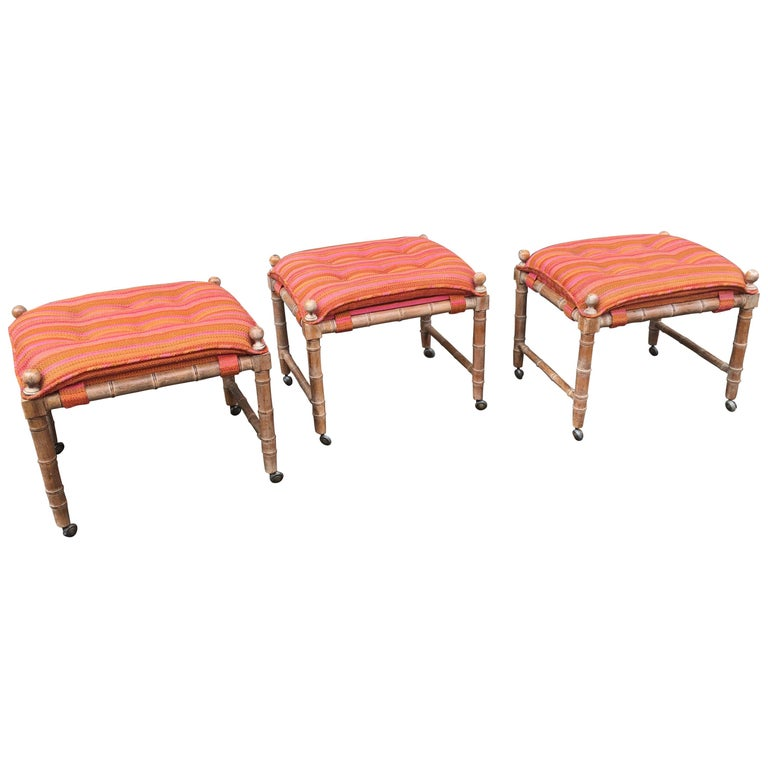 Faux Bamboo Wood Stools/ Ottomans For Sale