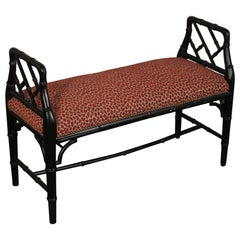 Faux Bamboo Wood Upholstered Bench