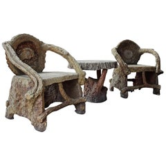 Faux Bois 4-Piece Outdoor Set Attributed to Dionicio Rodriguez, 1930s