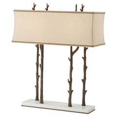 Faux Bois and Marble Table Lamp