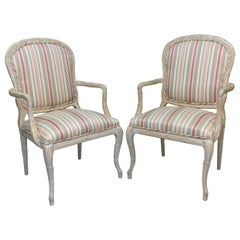 Faux Bois Armchairs in Striped Upholstery, a Pair