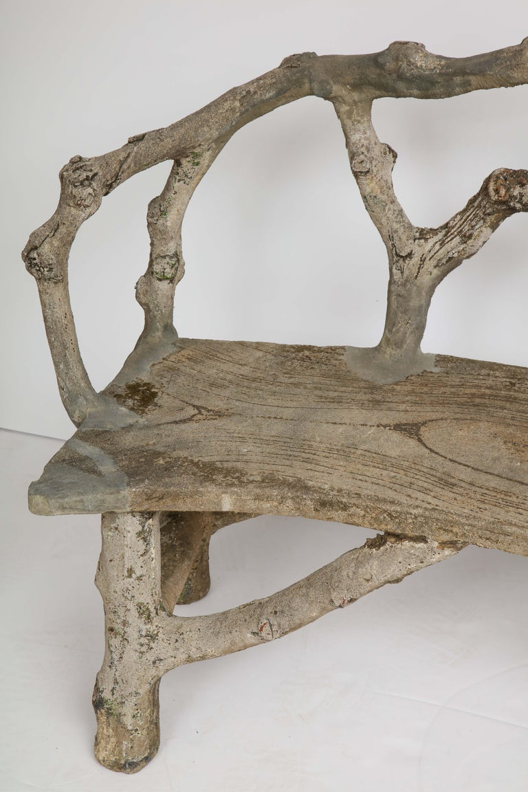 Faux Bois Bench with Naturalistic Design For Sale 5