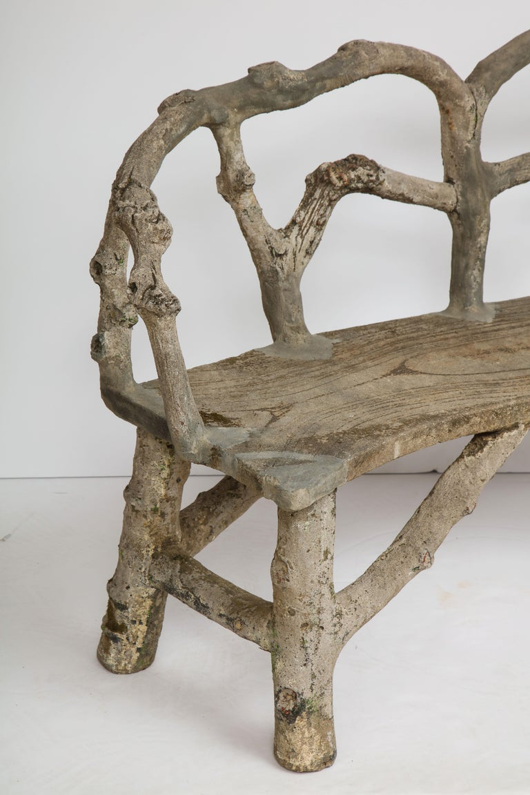 Faux Bois Bench with Naturalistic Design For Sale 8