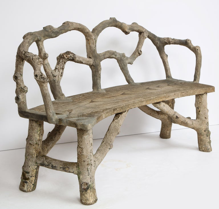 Faux Bois Bench with Naturalistic Design For Sale 14