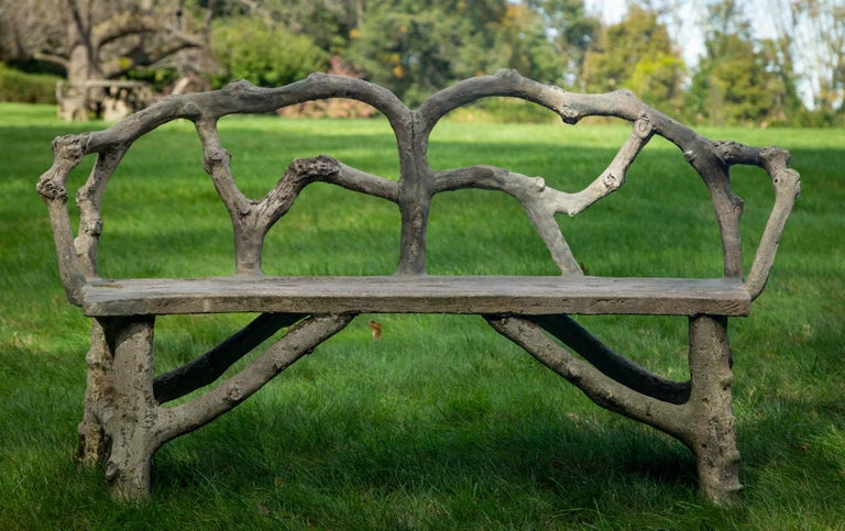 French Faux Bois Bench with Naturalistic Design For Sale