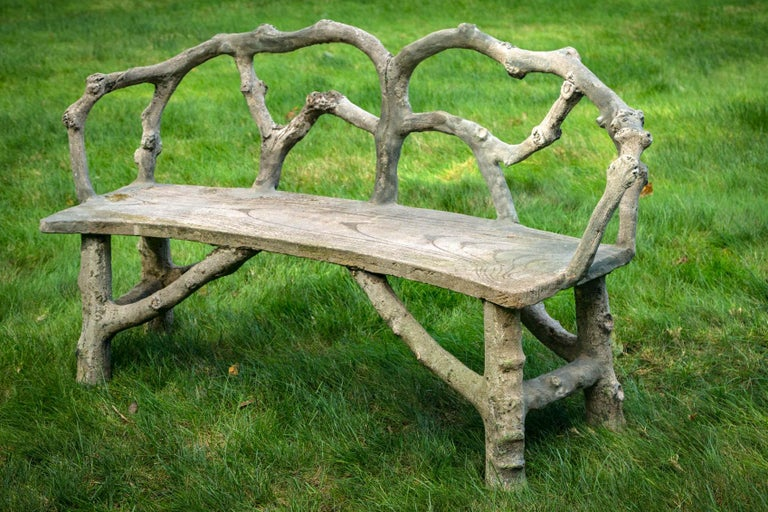 20th Century Faux Bois Bench with Naturalistic Design For Sale