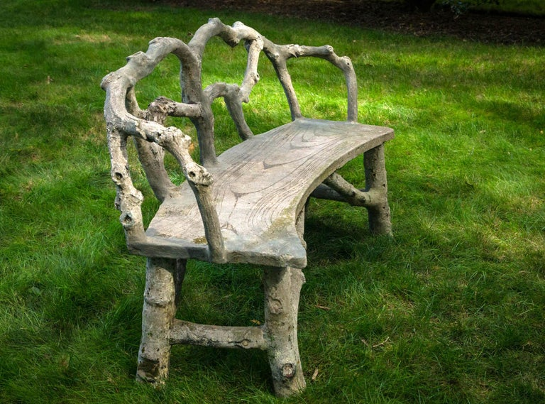 Faux Bois Bench with Naturalistic Design For Sale 1