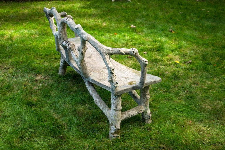 Faux Bois Bench with Naturalistic Design For Sale 2