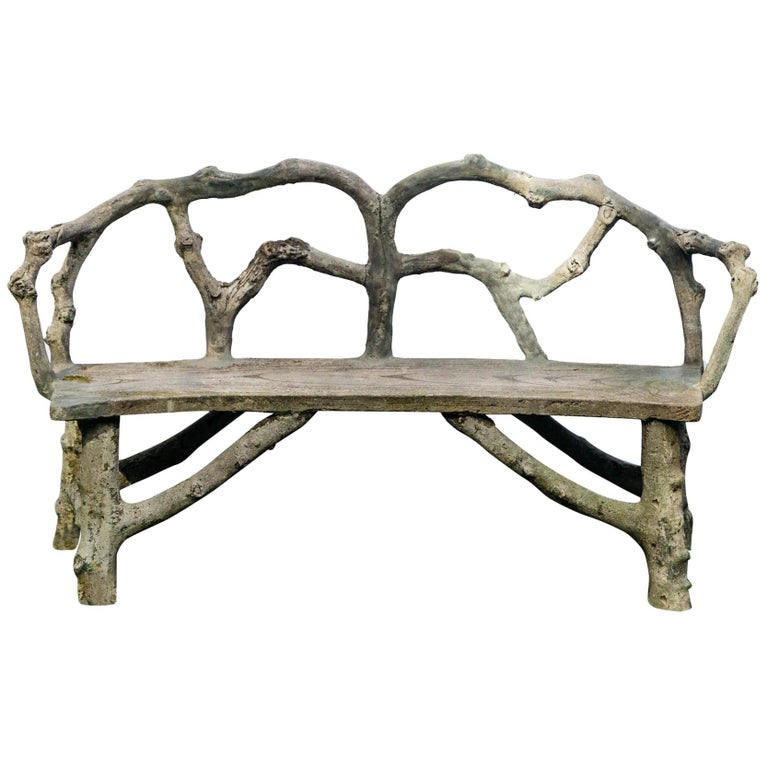 Faux Bois Bench with Naturalistic Design For Sale