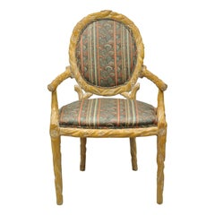 Faux Bois Branch Form Carved Wood Upholstered Back Chair Twig Dining Armchair