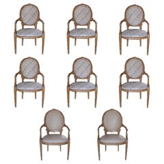 Faux Bois Branch Form Upholstered Armchairs