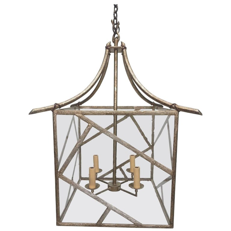 Faux Bois Brass Twig Pagoda Chandelier in the Les Lananne Style In Good Condition For Sale In Las Vegas, NV